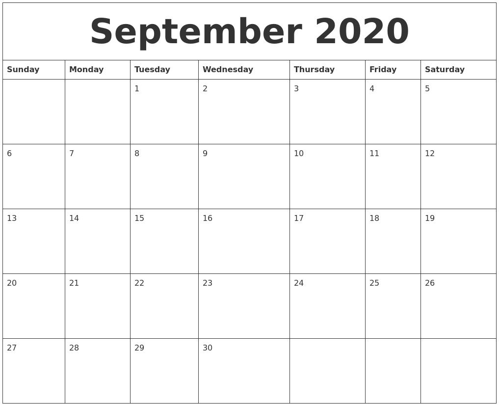 September 2020 Monthly Printable Calendar regarding 2020 Month Calendar Sunday Through Saturday