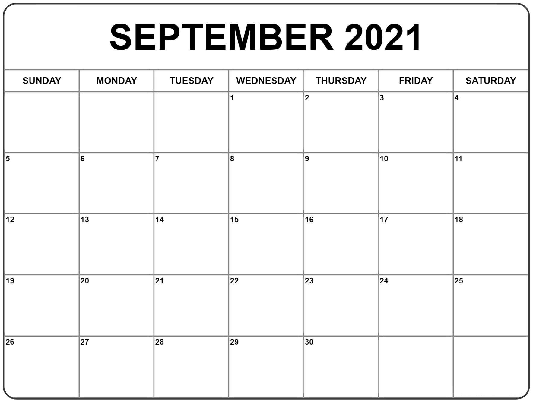September 2021 Calendar | Free Printable Calendar Monthly