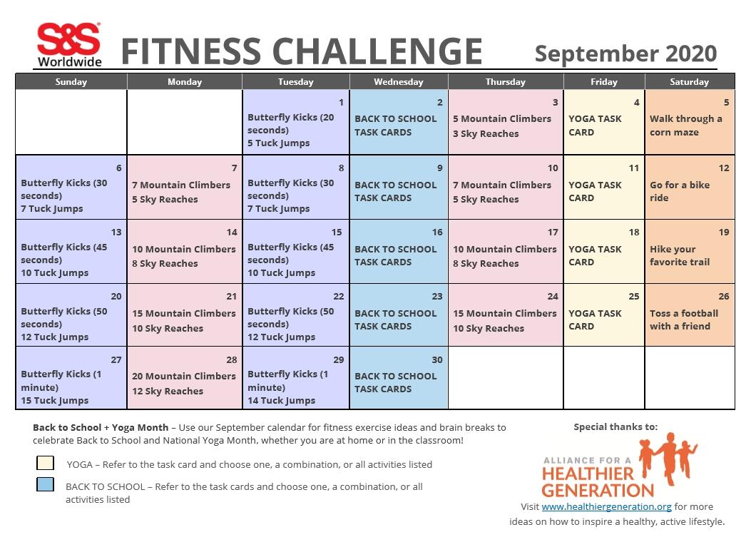 September Printable Fitness Challenge Calendar - S&S Blog