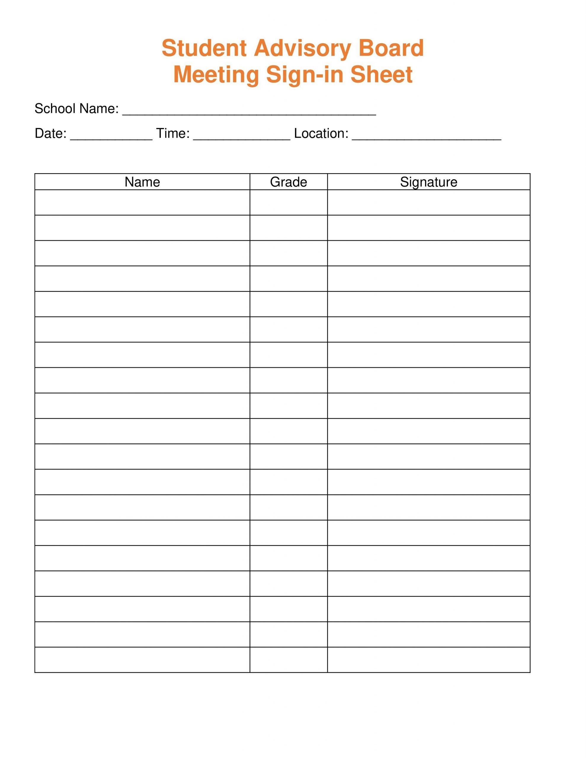 Sign Up Sheet Template ~ Addictionary