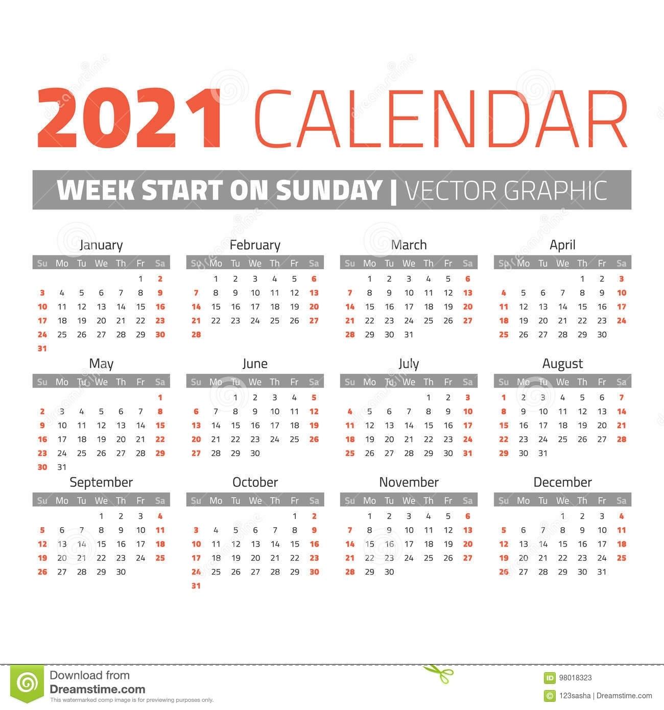 Simple 2021 Year Calendar Stock Vector. Illustration Of
