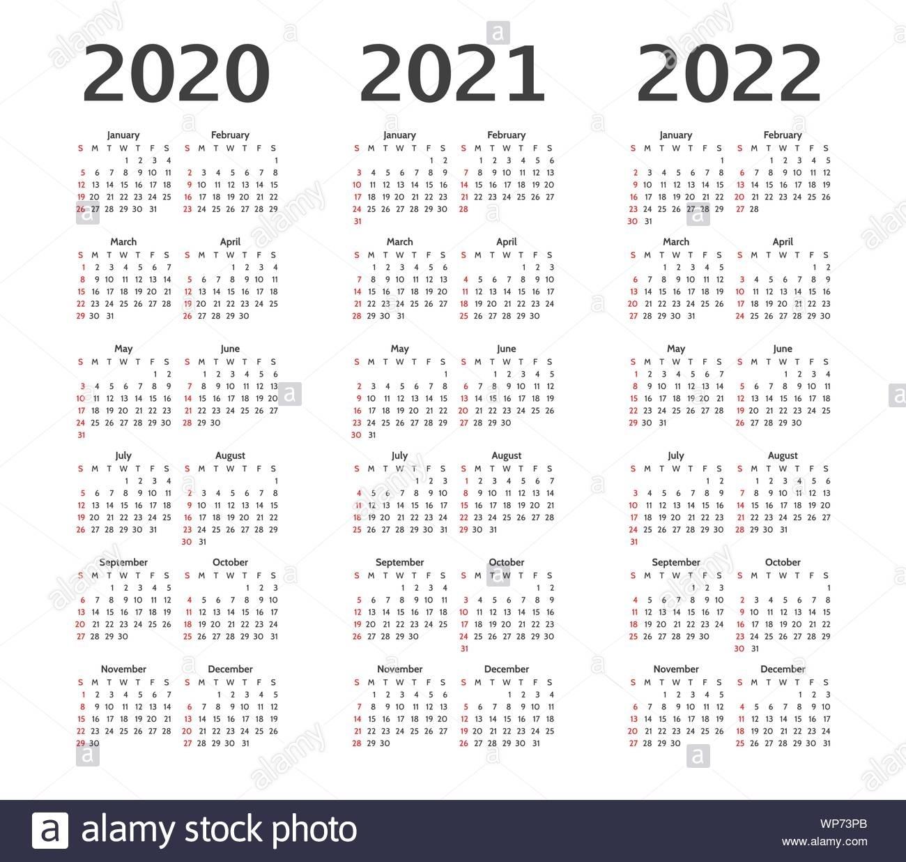 Simple Calendar Layout For 2020, 2021, 2022 Years. Week regarding 2020 2021 2022 Calendar Printable