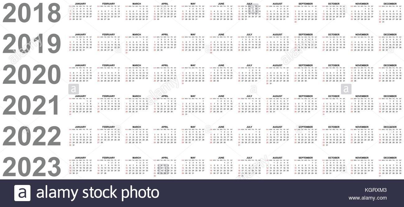 Simple Editable Vector Calendars For Year 2018 2019 2020 throughout Calendars 2019 2020 2021 2022 2023