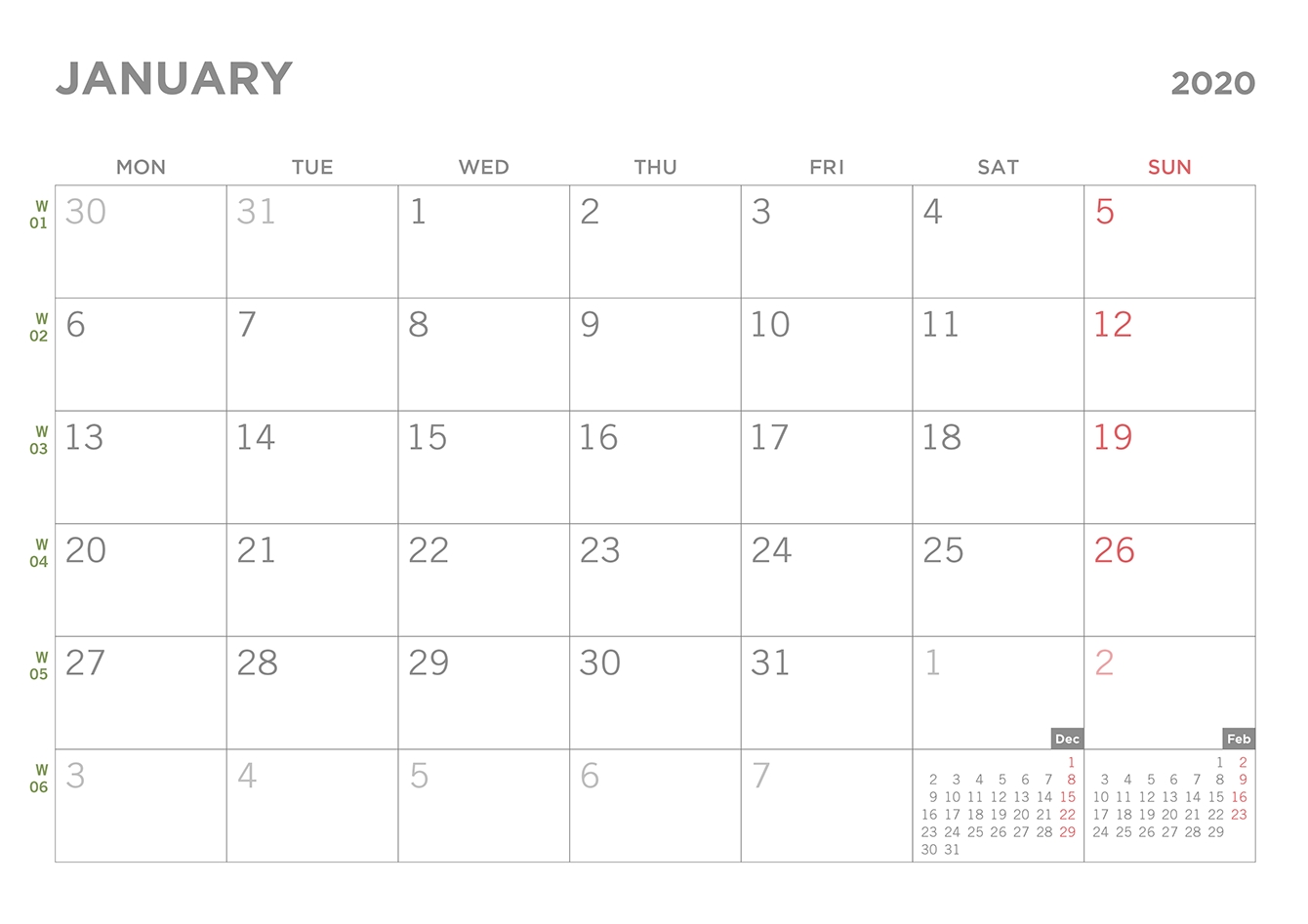Simple Excel Calendar Template in Printable Calendar 2020 Monday To Sunday