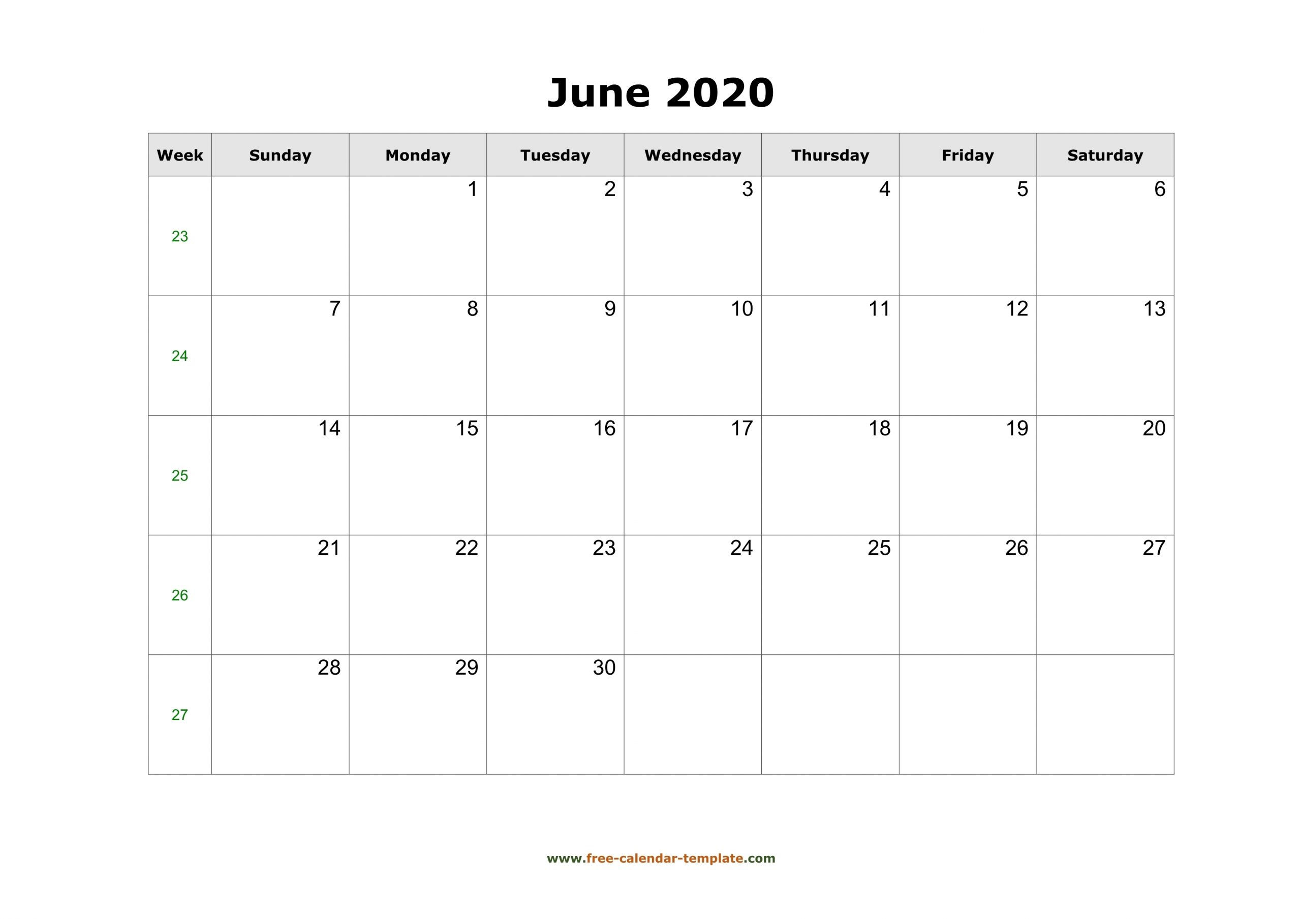 Simple June Calendar 2020 Large Box On Each Day For Notes for Large Box Printable 2020 Calendar
