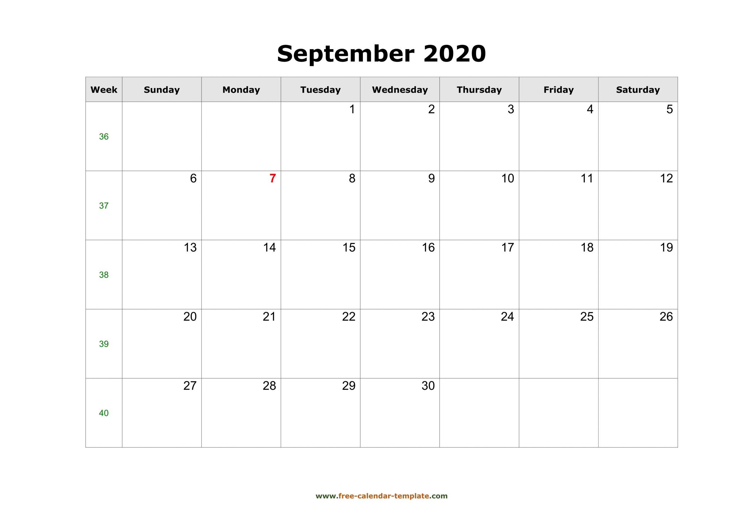 Simple September Calendar 2020 Large Box On Each Day For for Large Box Calendar 2020 Printable