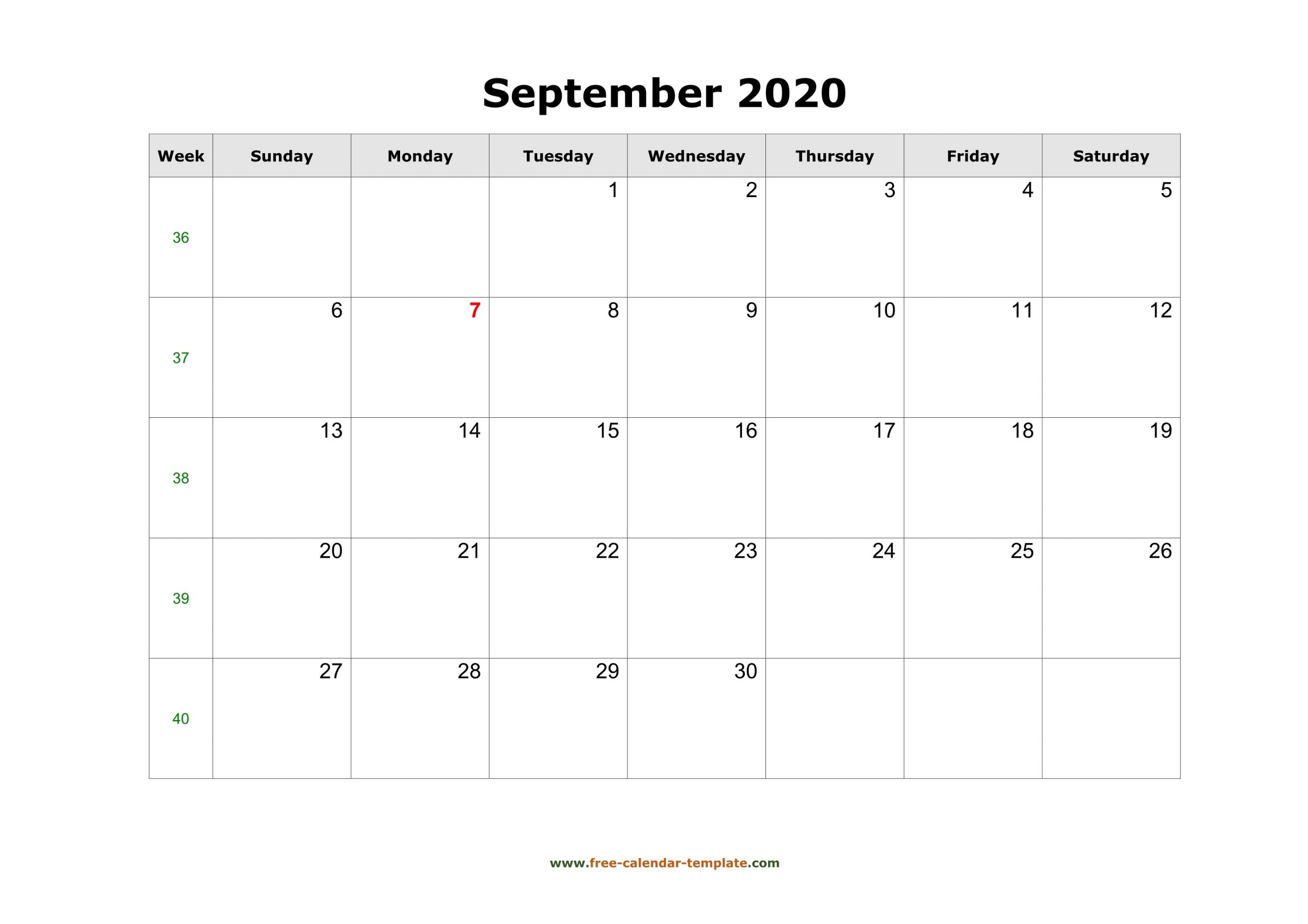 Simple September Calendar 2020 Large Box On Each Day For throughout Printable Calendar Large Box 2020