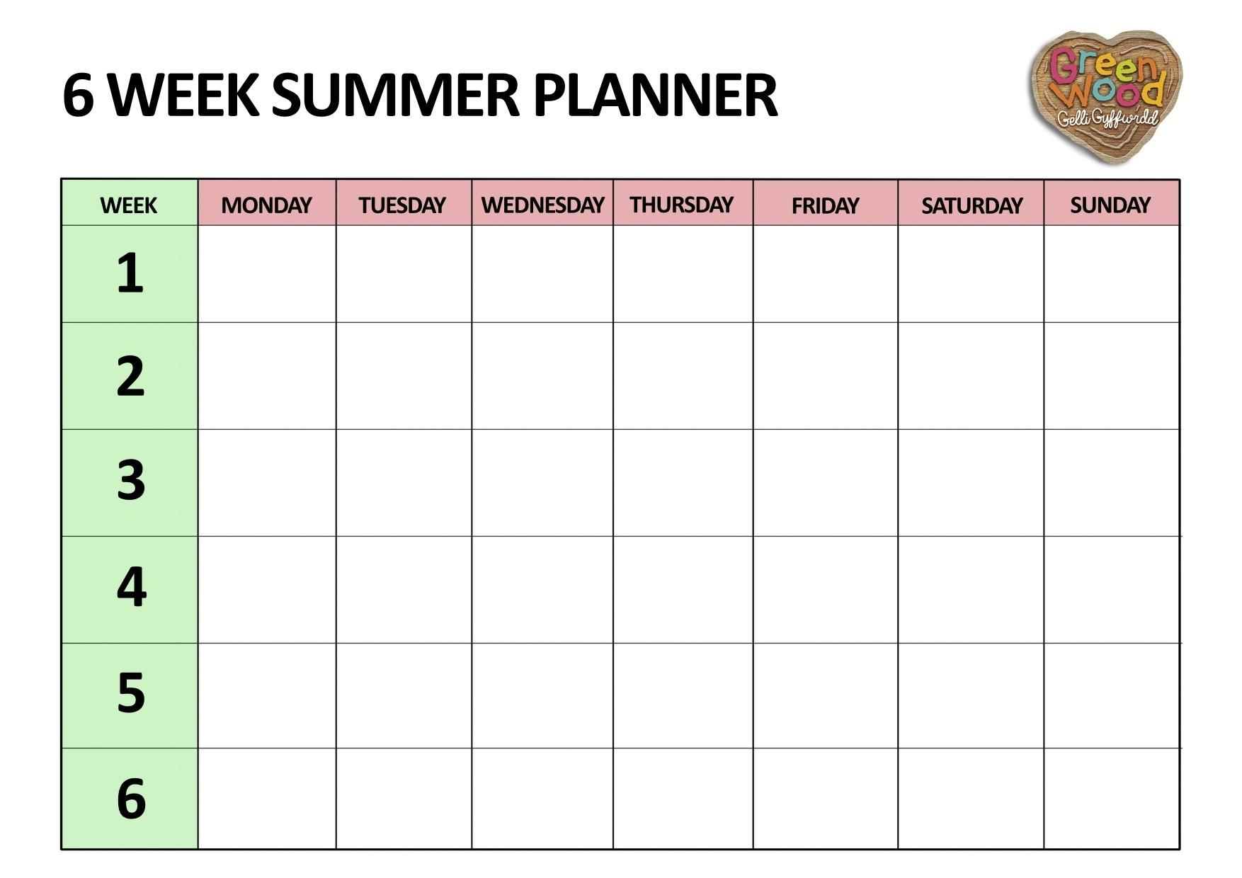 Six Week Summer Planner - Five Little Doves