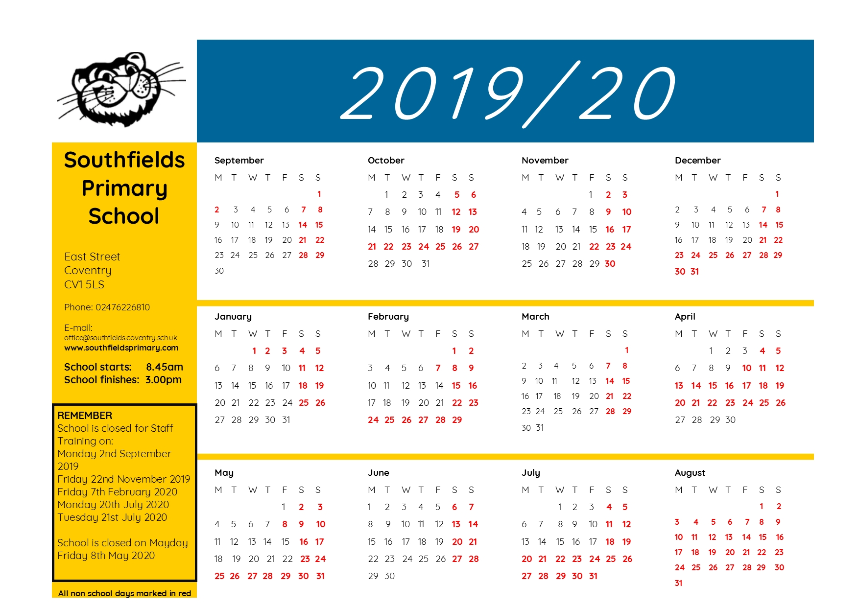 Southfields Yearly Calendar 2019-2020 – Southfields Primary with School Calendar For Pshe Events 2019-2020