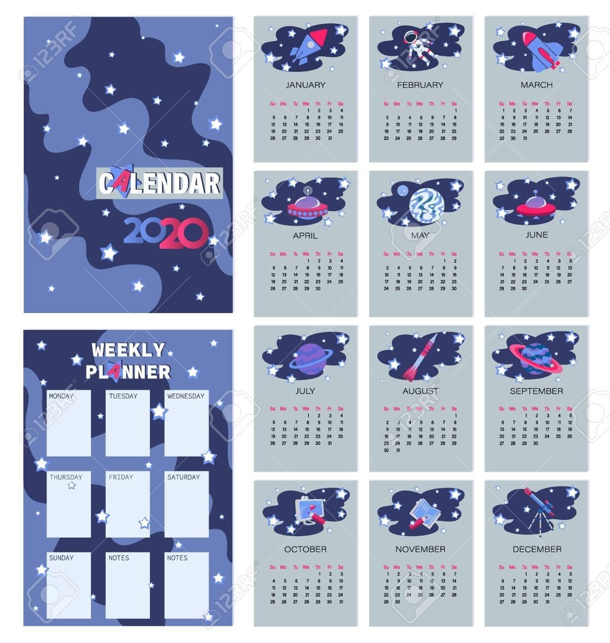 Space. Calendar Planner For 2020. Weekly Planner. The Week Starts..