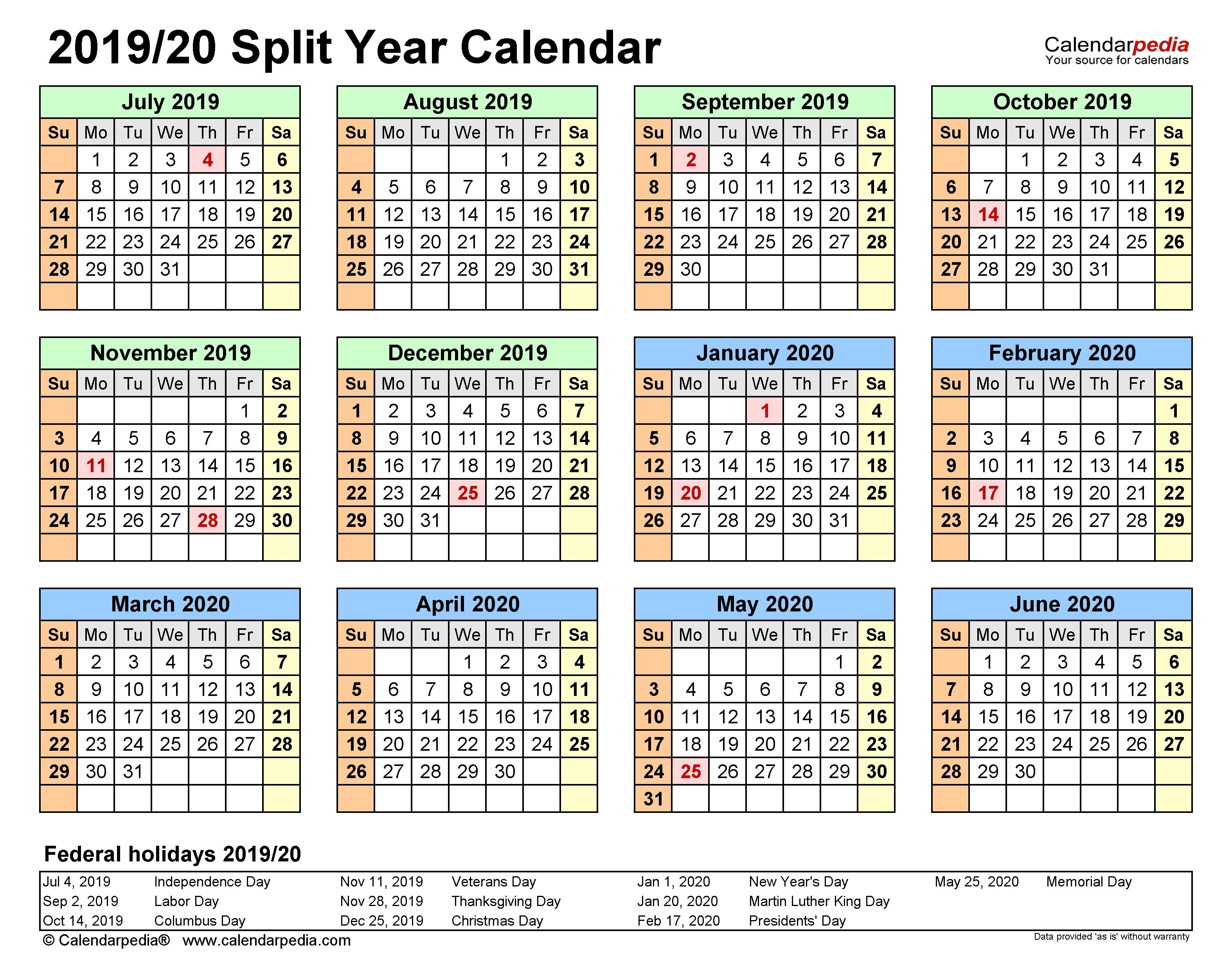 Split Year Calendars 2019/2020 (July To June) - Pdf Templates throughout Financial Calendar 2019-2020 In Weeks