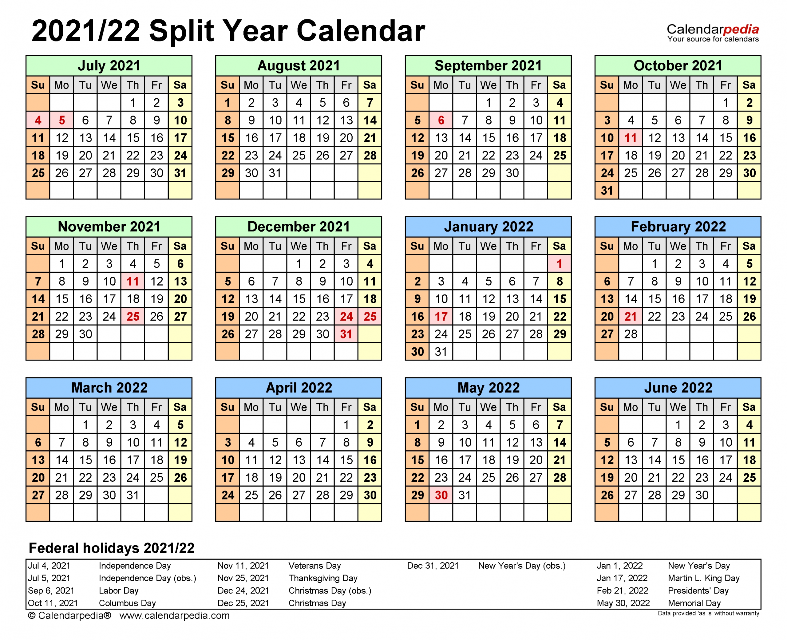 Split Year Calendars 2021/2022 (July To June) - Pdf Templates