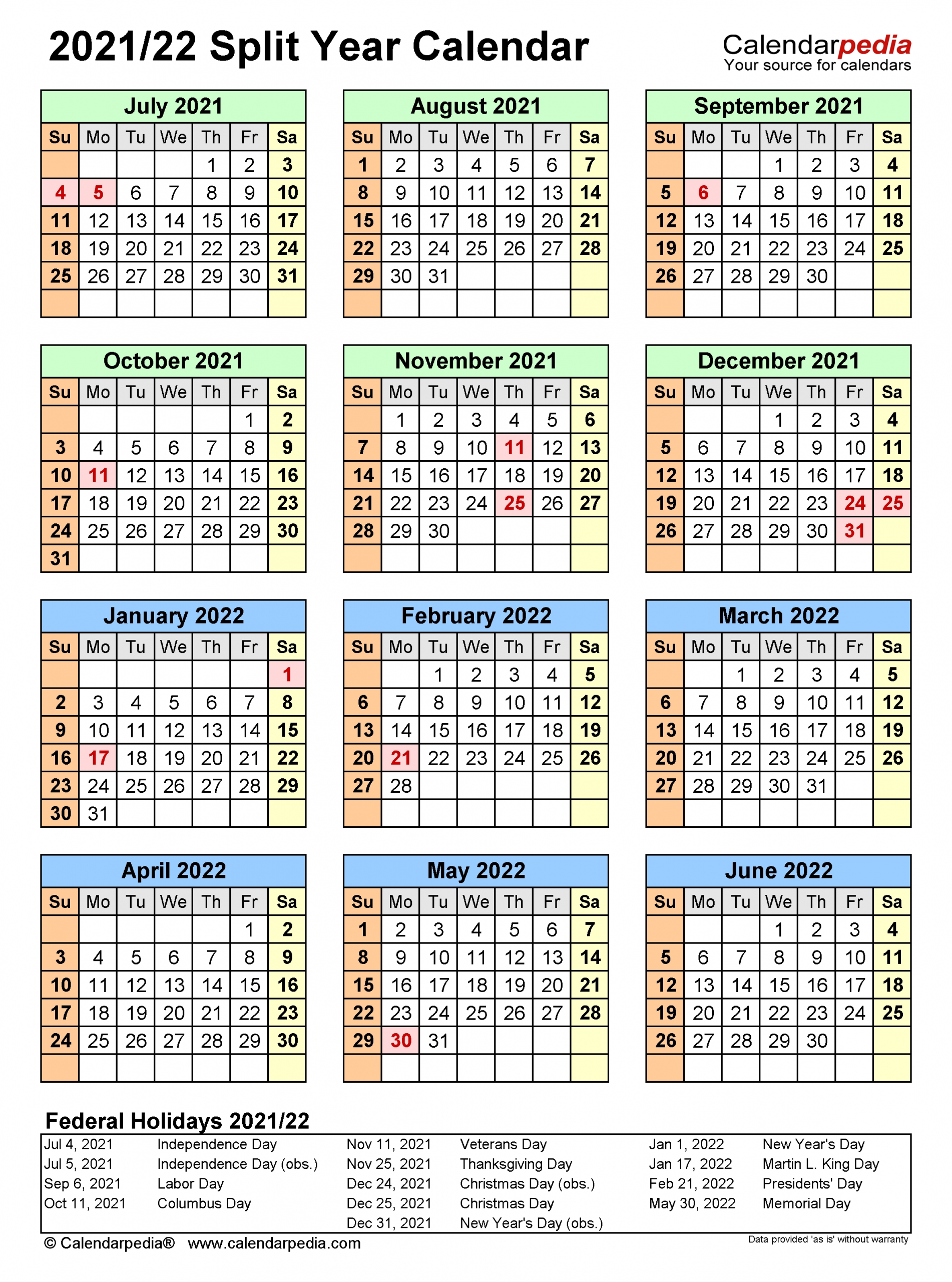 Split Year Calendars 2021/2022 (July To June) - Pdf Templates