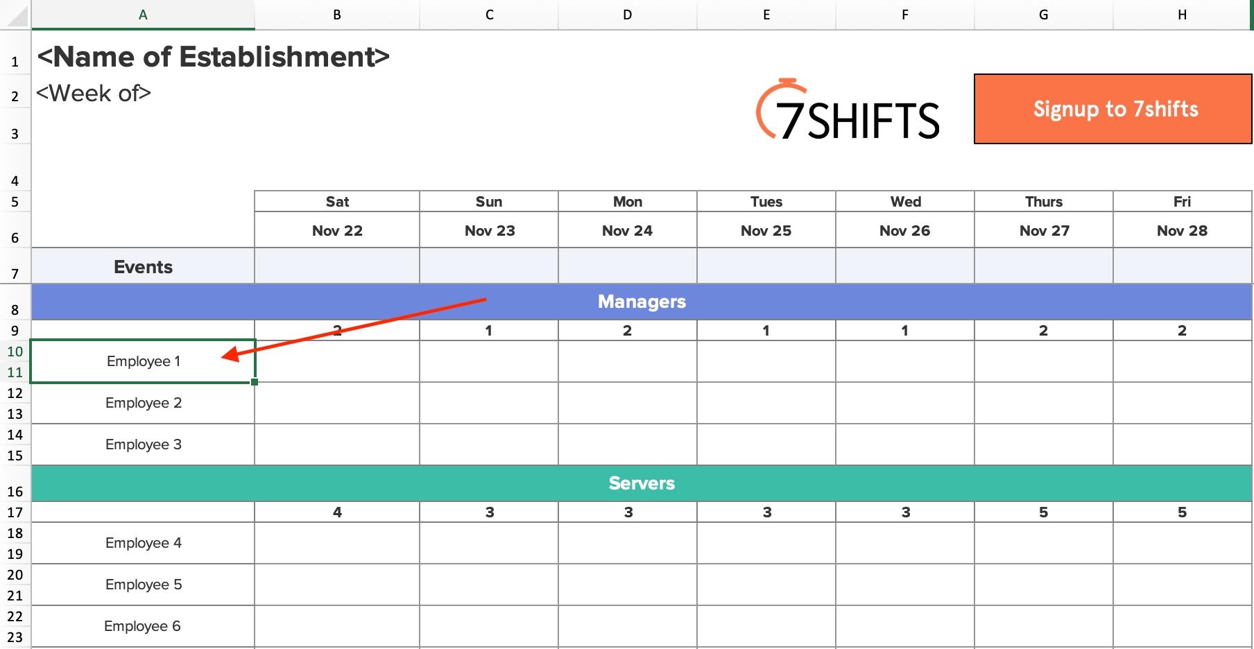 Spreadsheet Employee Scheduling Cel Input Staff Names