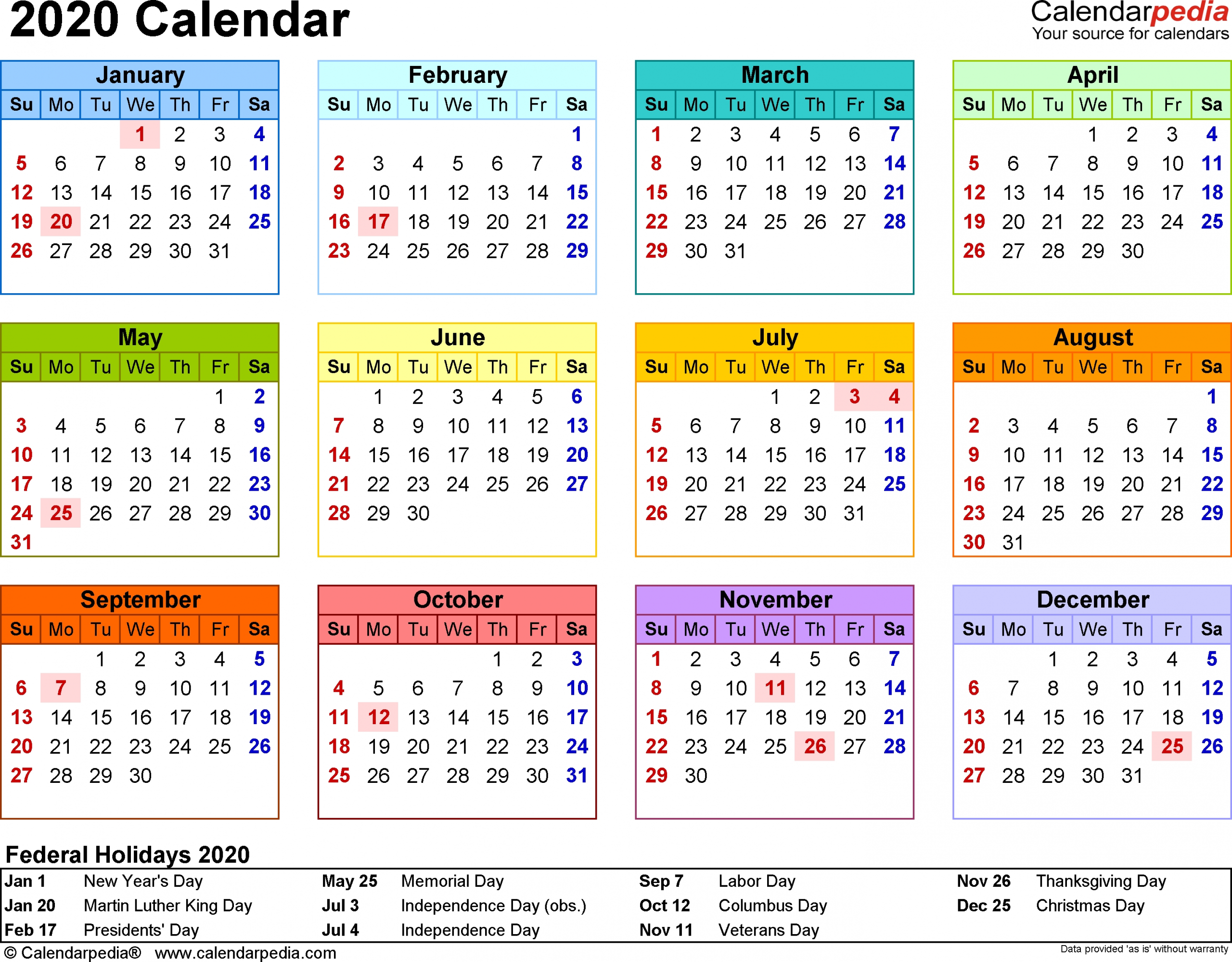 Template 8: 2020 Calendar For Word, Year At A Glance, 1 Page with 2020 Calendar Printable Free Pdf Color