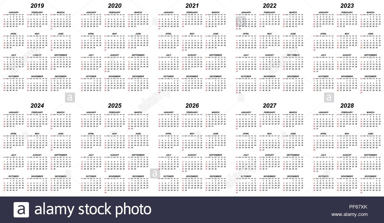 Ten Years Simple Editable Vector Calendars For Year 2019 for Yearly 2019 2020 2021 2022 2023