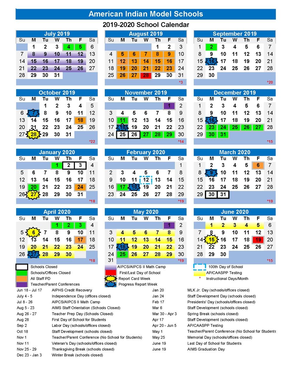 Thanksgiving Break (School Closed) — Aims K-12 with regard to Uc Berkeley School Calendar 2019 2020
