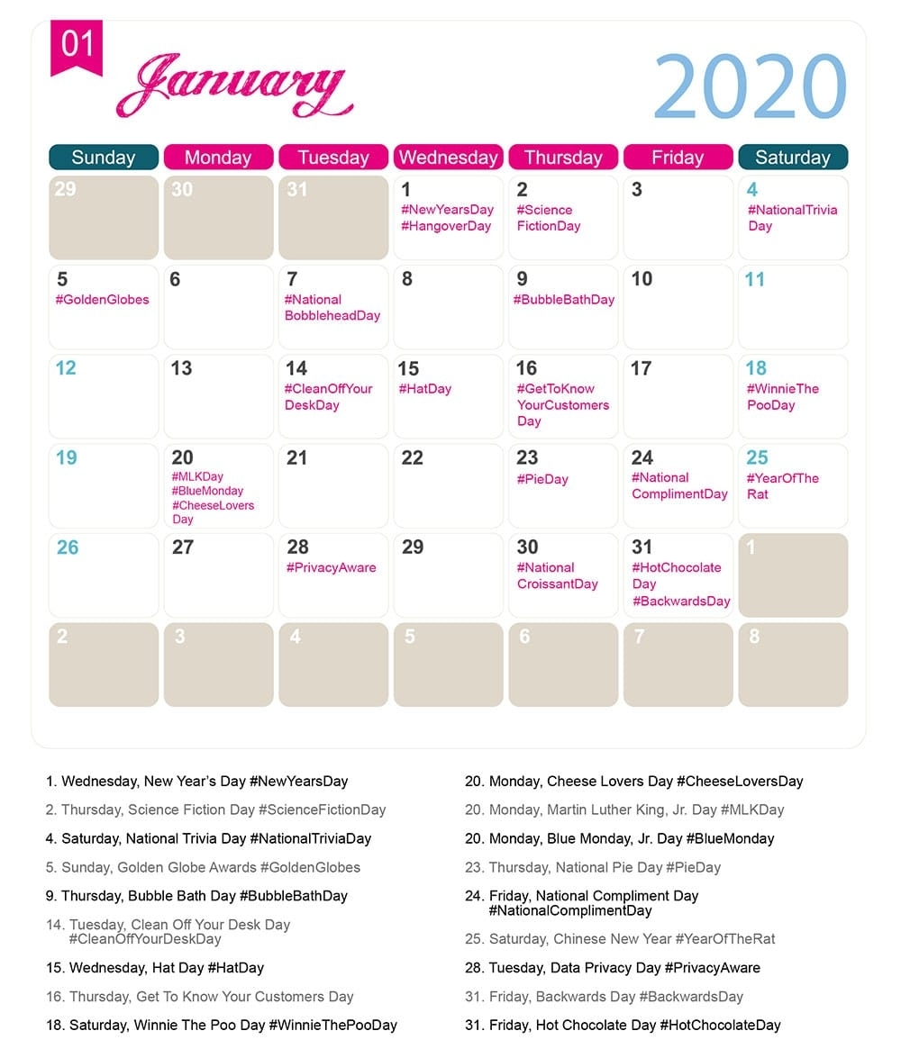 The 2020 Social Media Holiday Calendar - Make A Website Hub throughout Yearly Calendar Of Special Days