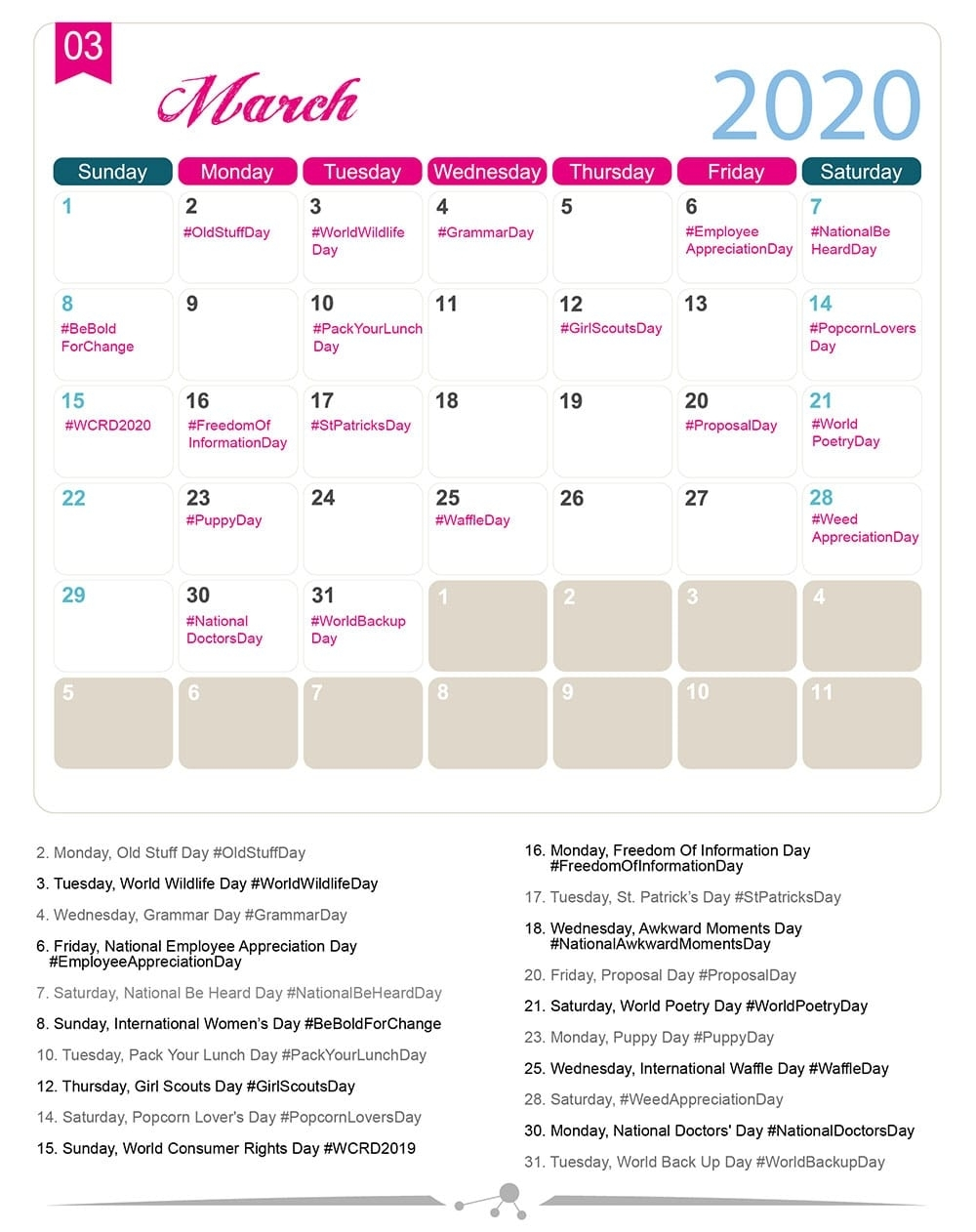 The 2020 Social Media Holiday Calendar - Make A Website Hub with regard to Spec Ial Days In 2020