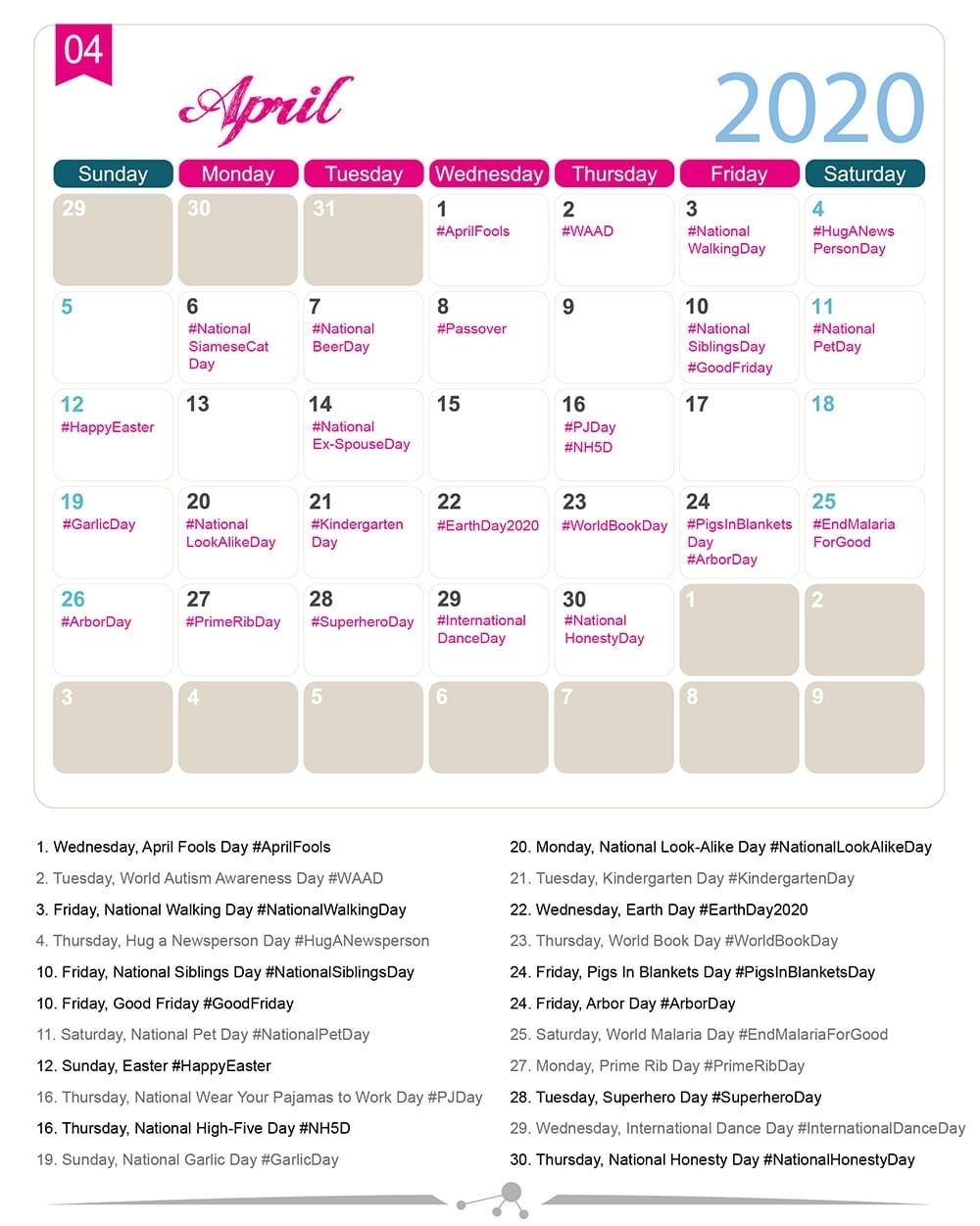 The 2020 Social Media Holiday Calendar - Make A Website Hub within Special Days Of The Year 2020 Calendar