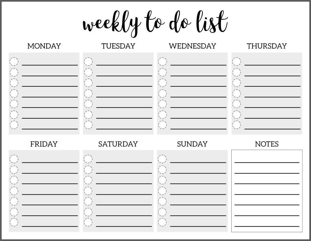 The Marvelous √ Free Printable Weekly To Do List Template