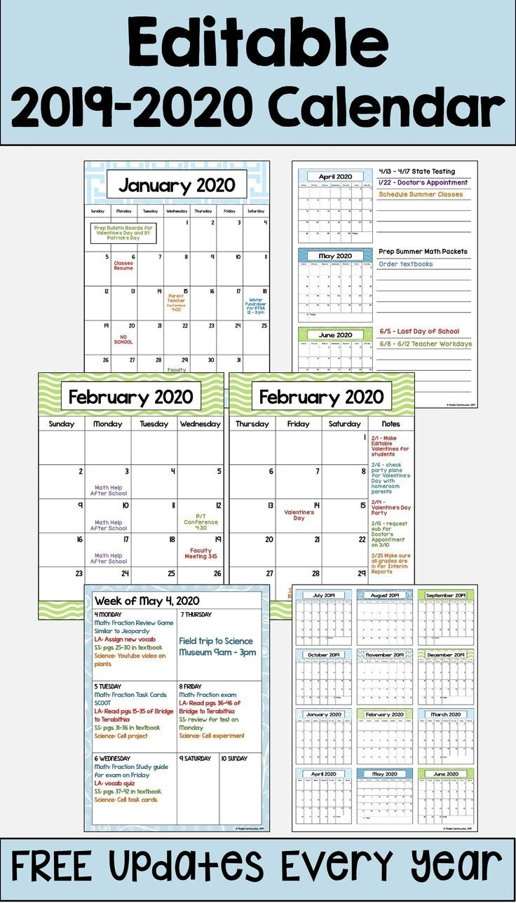 This 2019 – 2020 Editable Calendar Template Is Printable And intended for Free Kindergarten Calendar Template 2019