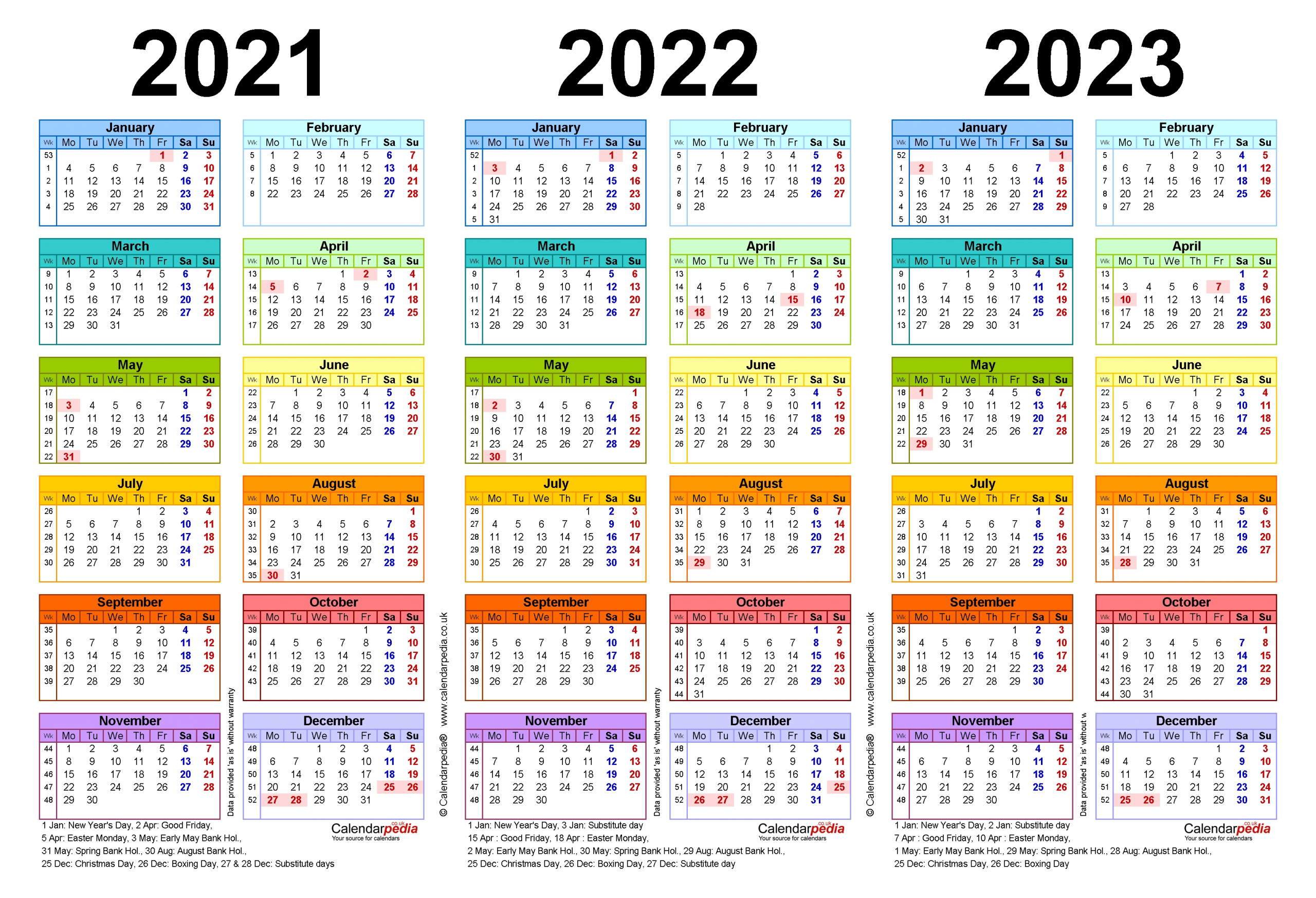Three Year Calendars For 2021, 2022 & 2023 (Uk) For Word