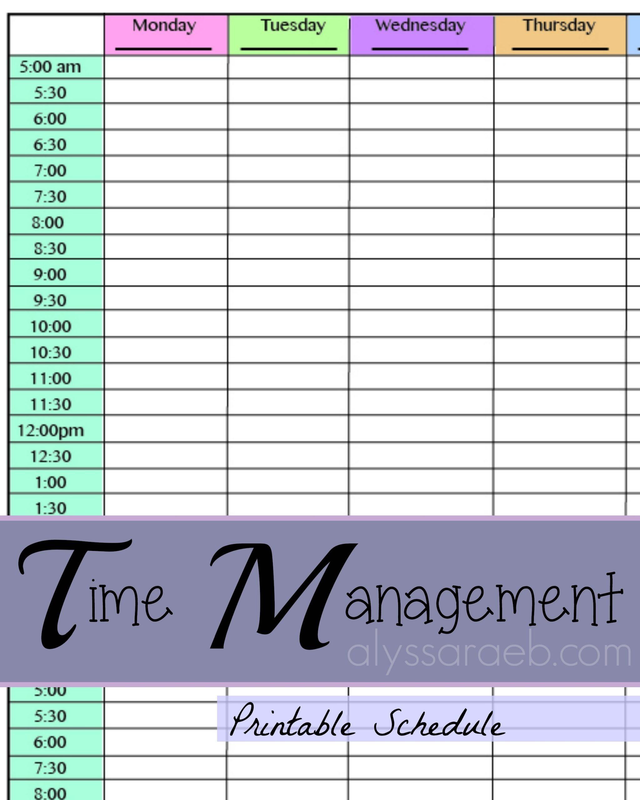 Time Management: Printable Schedule – Alyssa Rae