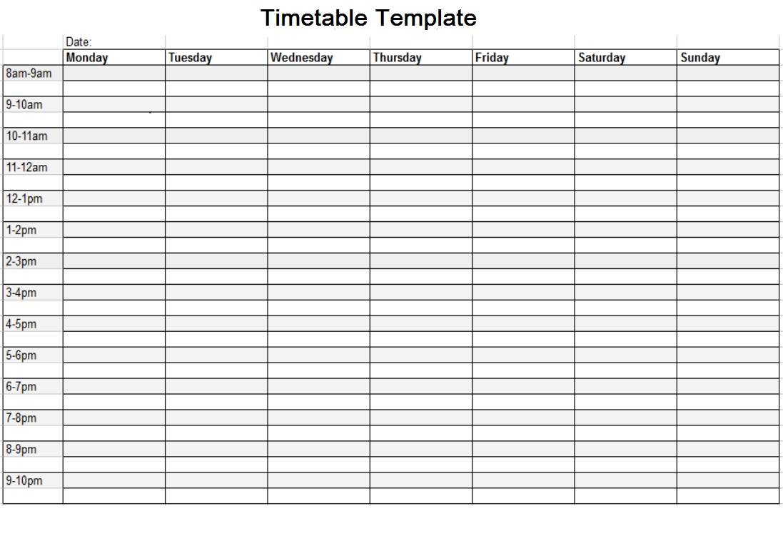 Timetable Template Free | Timetable Template, Weekly