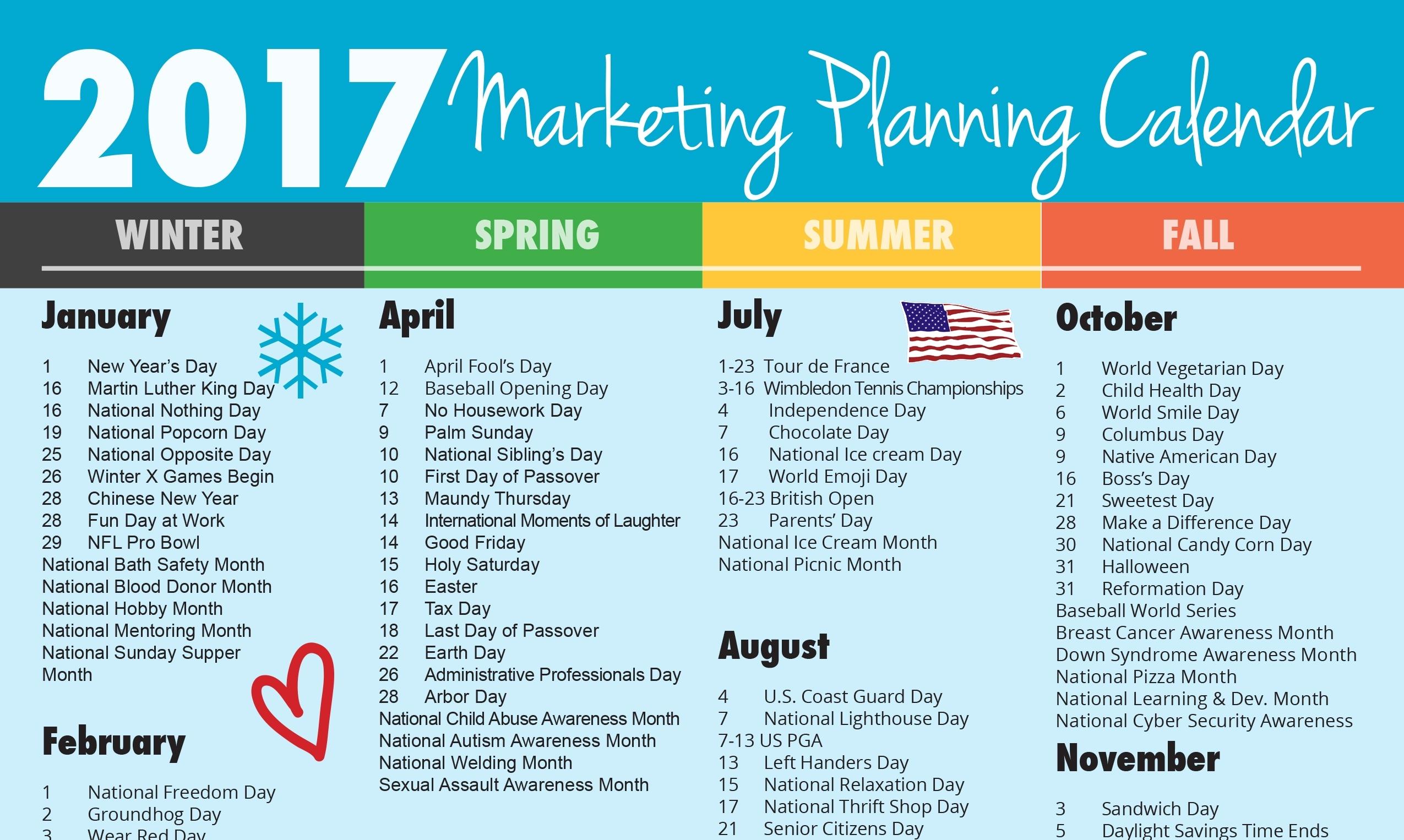 Ultimate 2017 Marketing Planning Calendar - Vandenberg Web + for Yearly Calendar Of Special Days