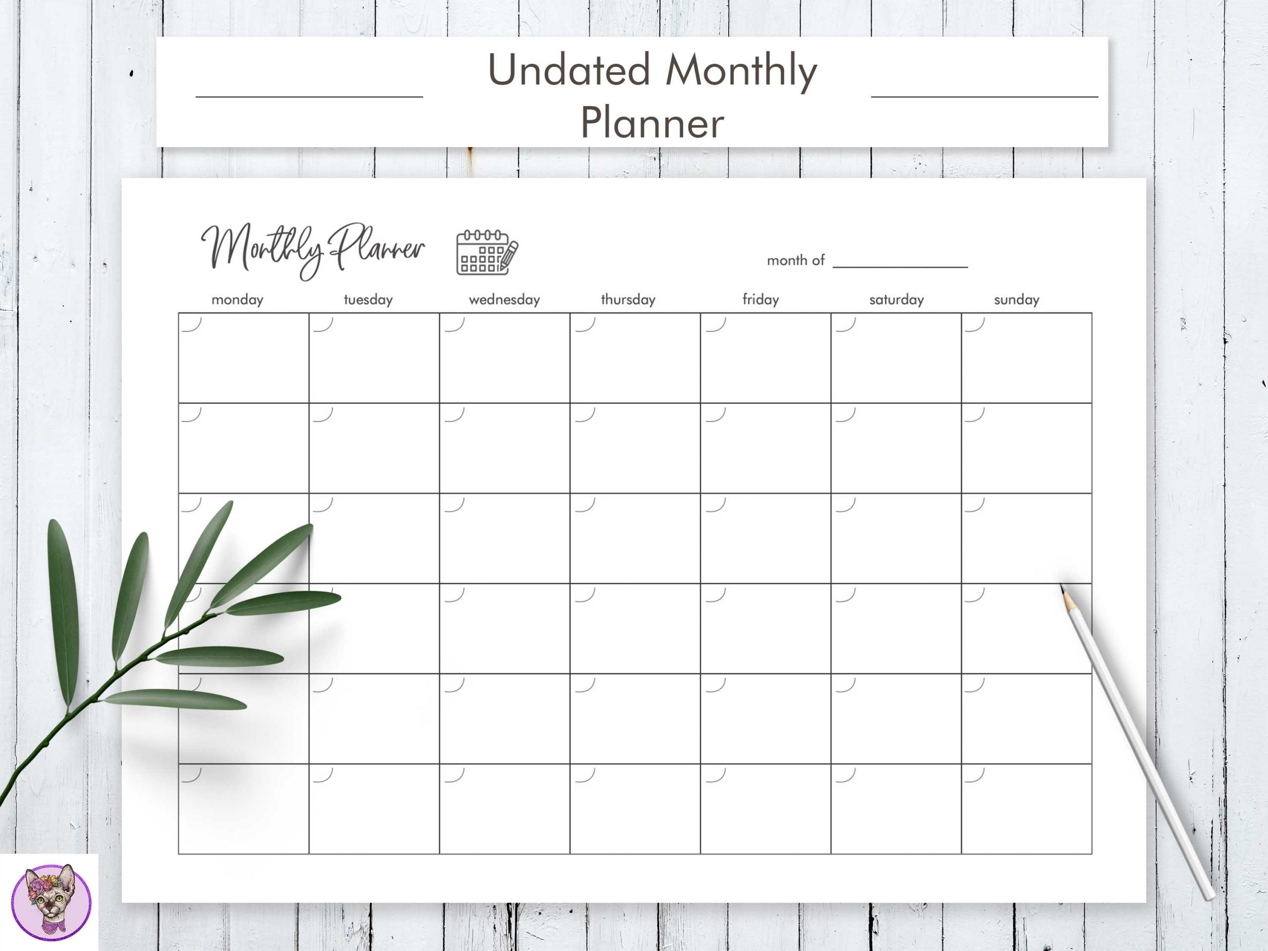Undated Monthly Planner Printable