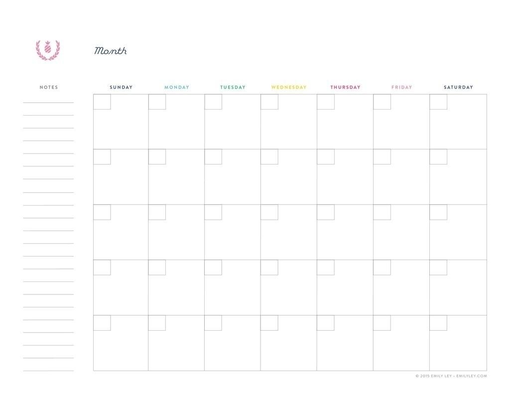 Undated Printable Monthly Calendar Free - Calendar for Undated Free Monthly Calendar Printable Free