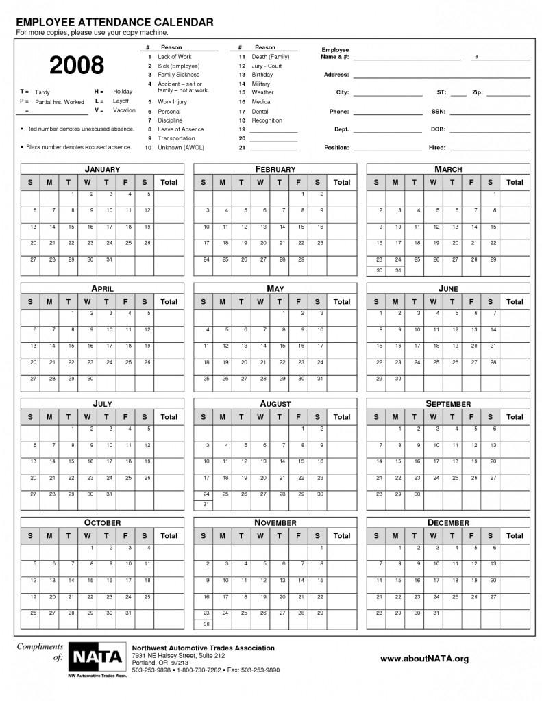 Unique Printable Employee Attendance Calendar | Free