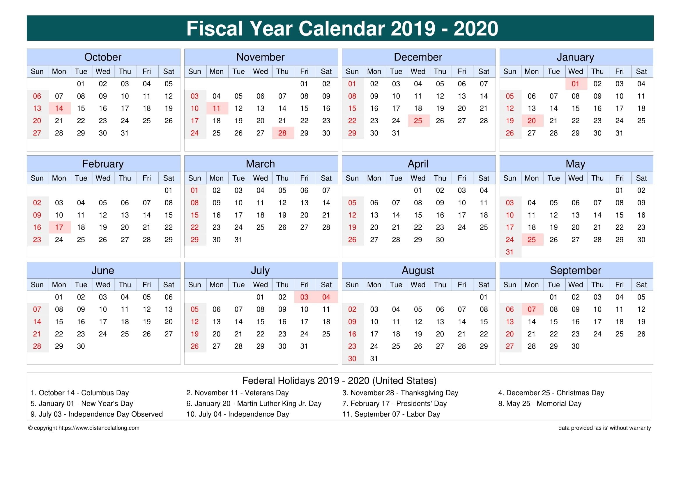 United States Fiscal Year 2019-2020 Calendar Templates, Free with Financial Calendar 2019-2020 In Weeks