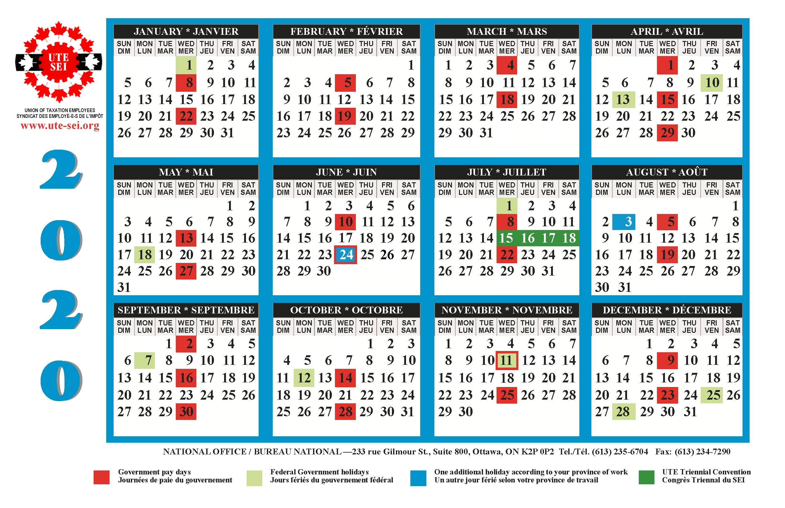 Ute 2019-2020 Calendar | Union Of Taxation Employees with Federal Pay Periods 2020 Schedule