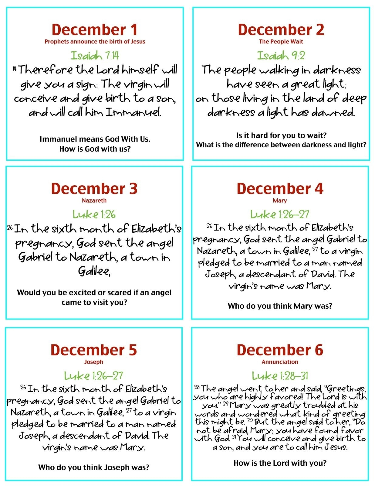 Verses & Discussion Questions For Advent Calendar