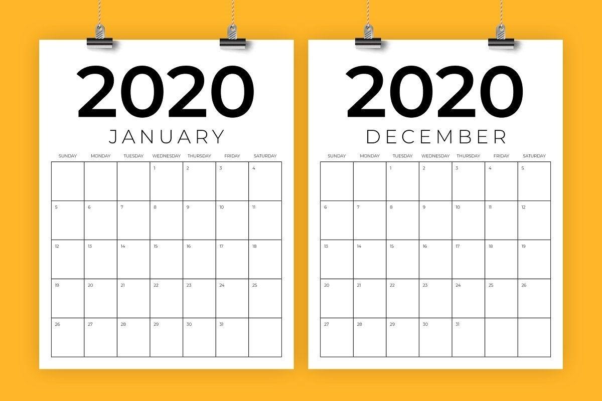 Vertical 8.5 X 11 Inch 2020 Calendar | Calendar Template in 8.5 X 11 Free Printable Calendars