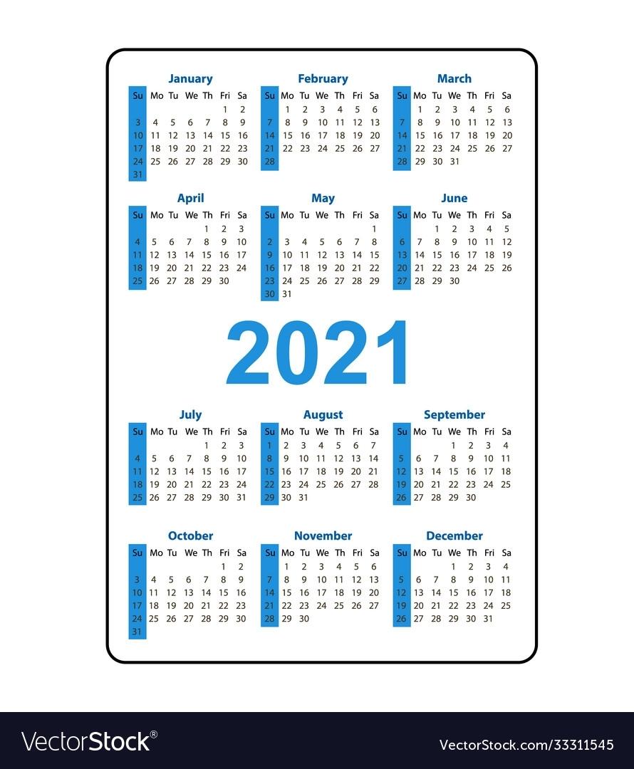 Vertical Pocket Calendar 2021 Year Week Starts Vector Image