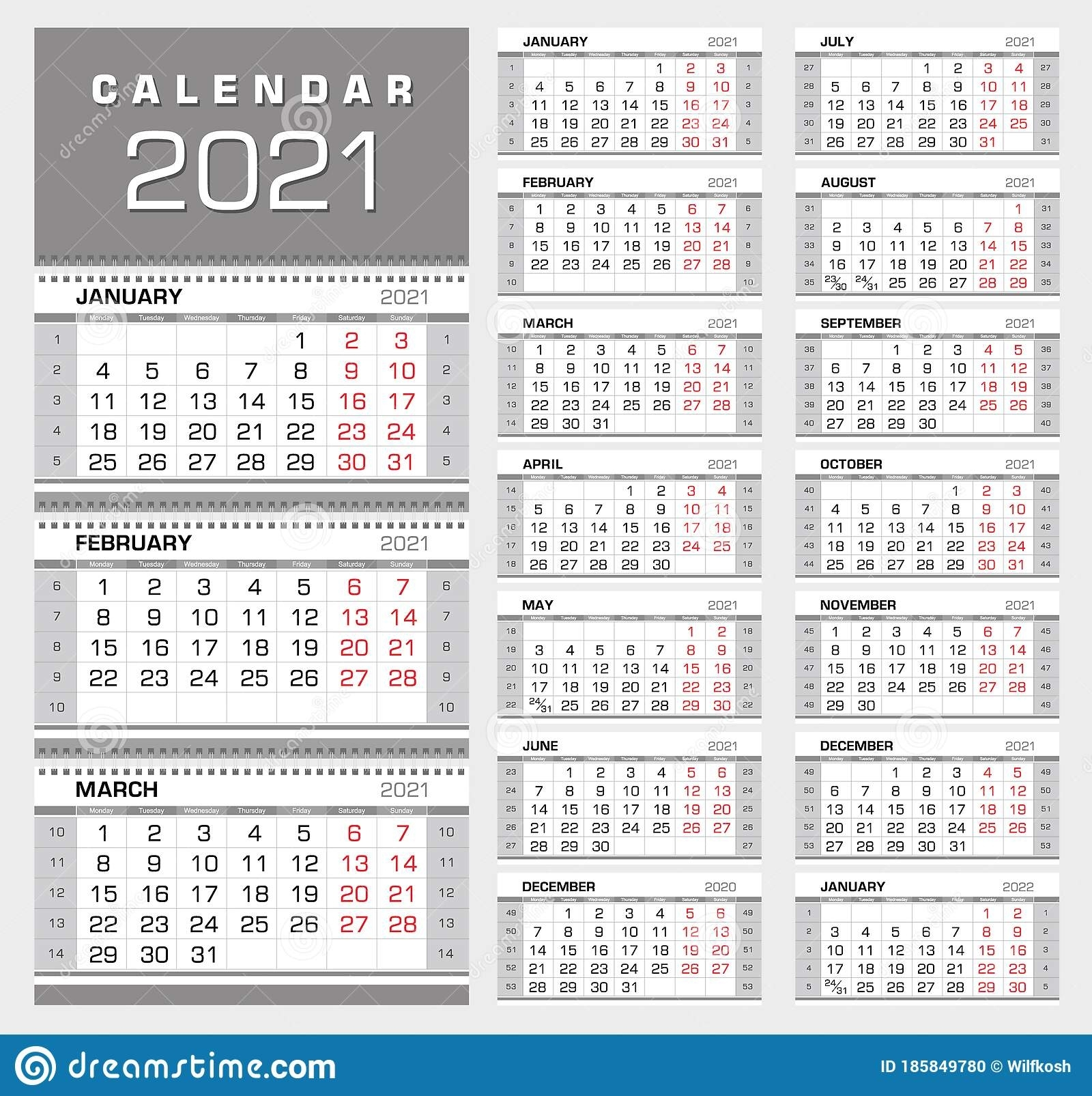 Wall Quarterly Calendar 2021 With Week Numbers. Week Start