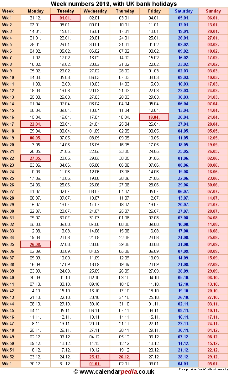 Week Numbers 2019 With Excel, Word And Pdf Templates