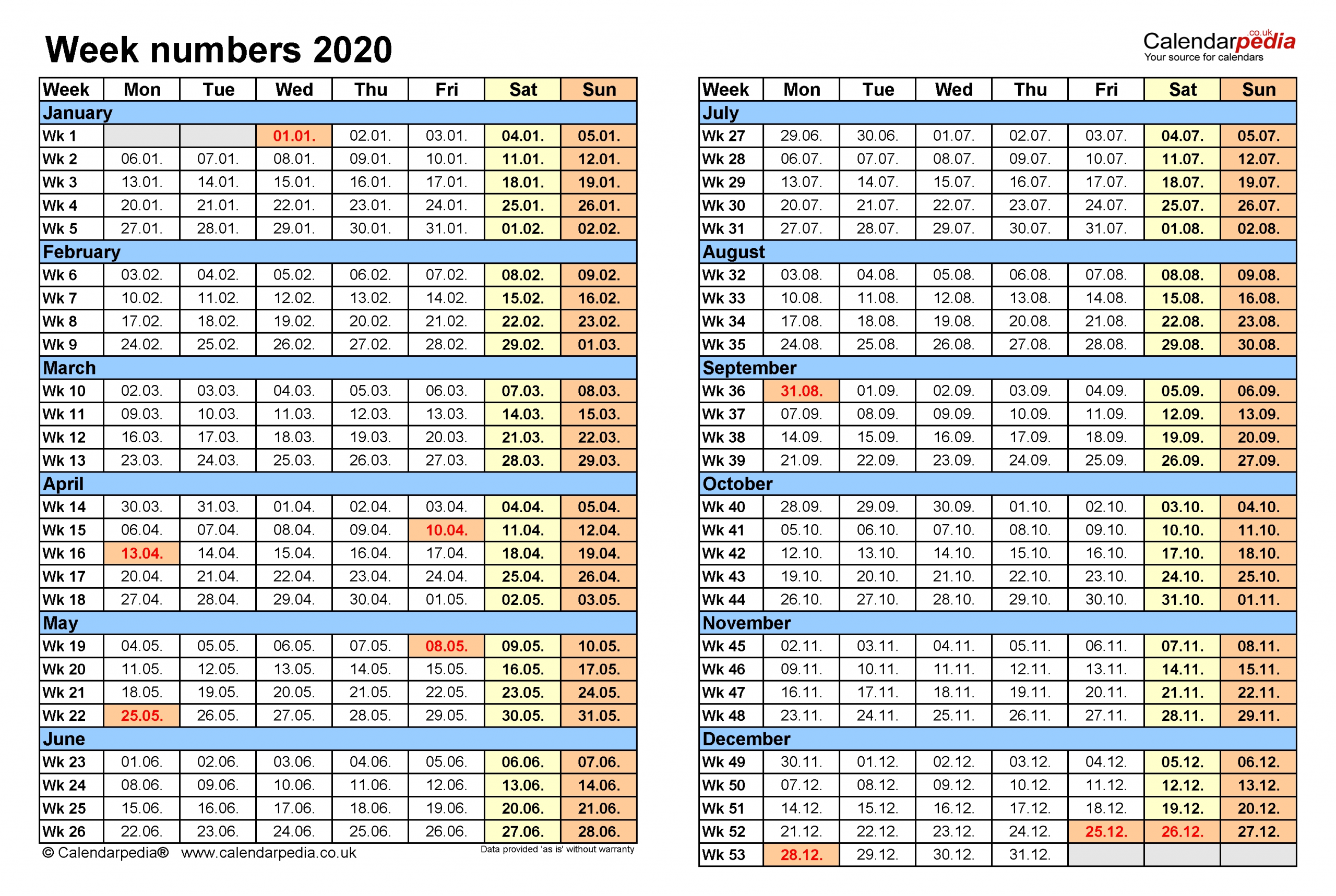 Week Numbers 2020 With Excel, Word And Pdf Templates