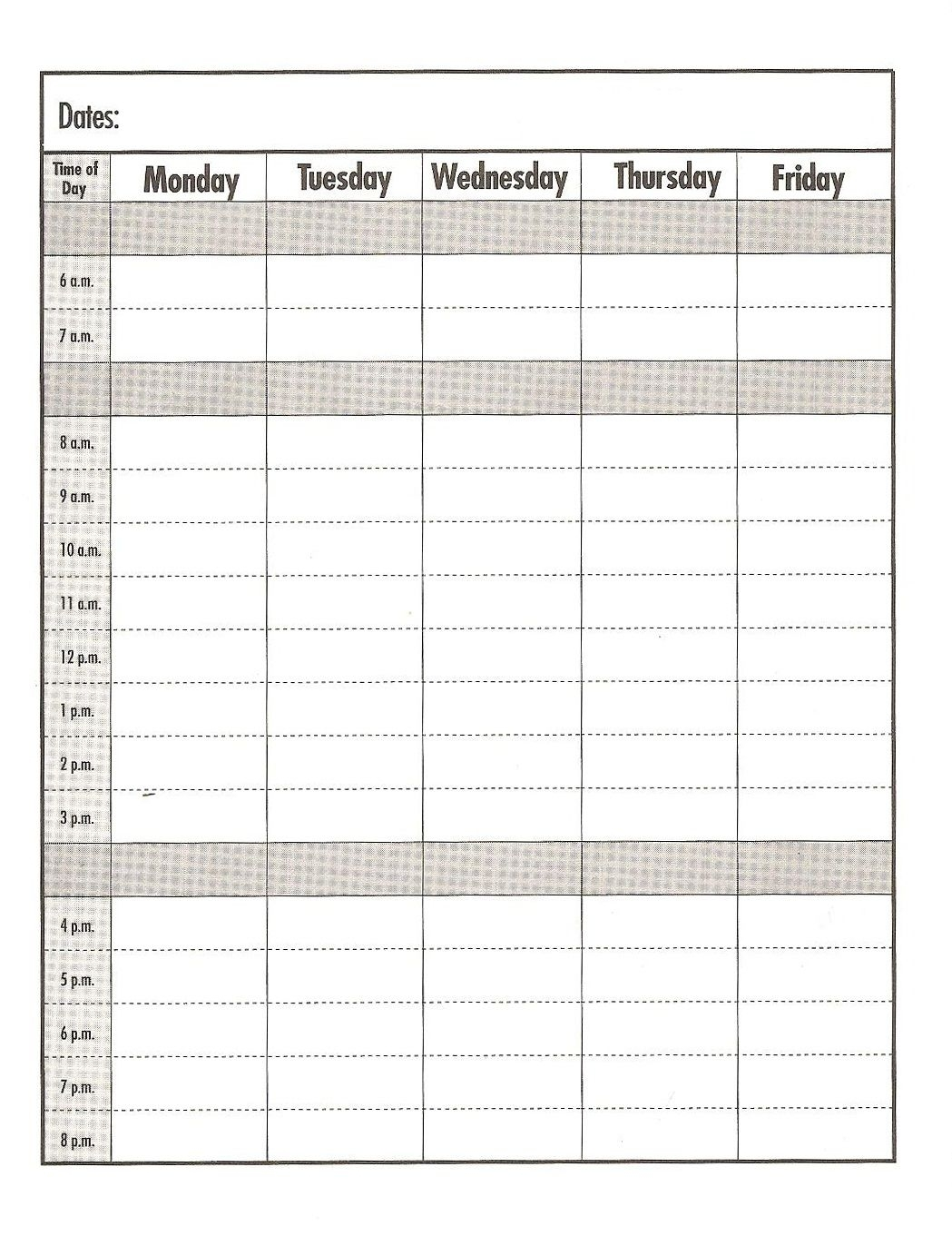 Weekday #Schedule Template/Print Out #Education #School