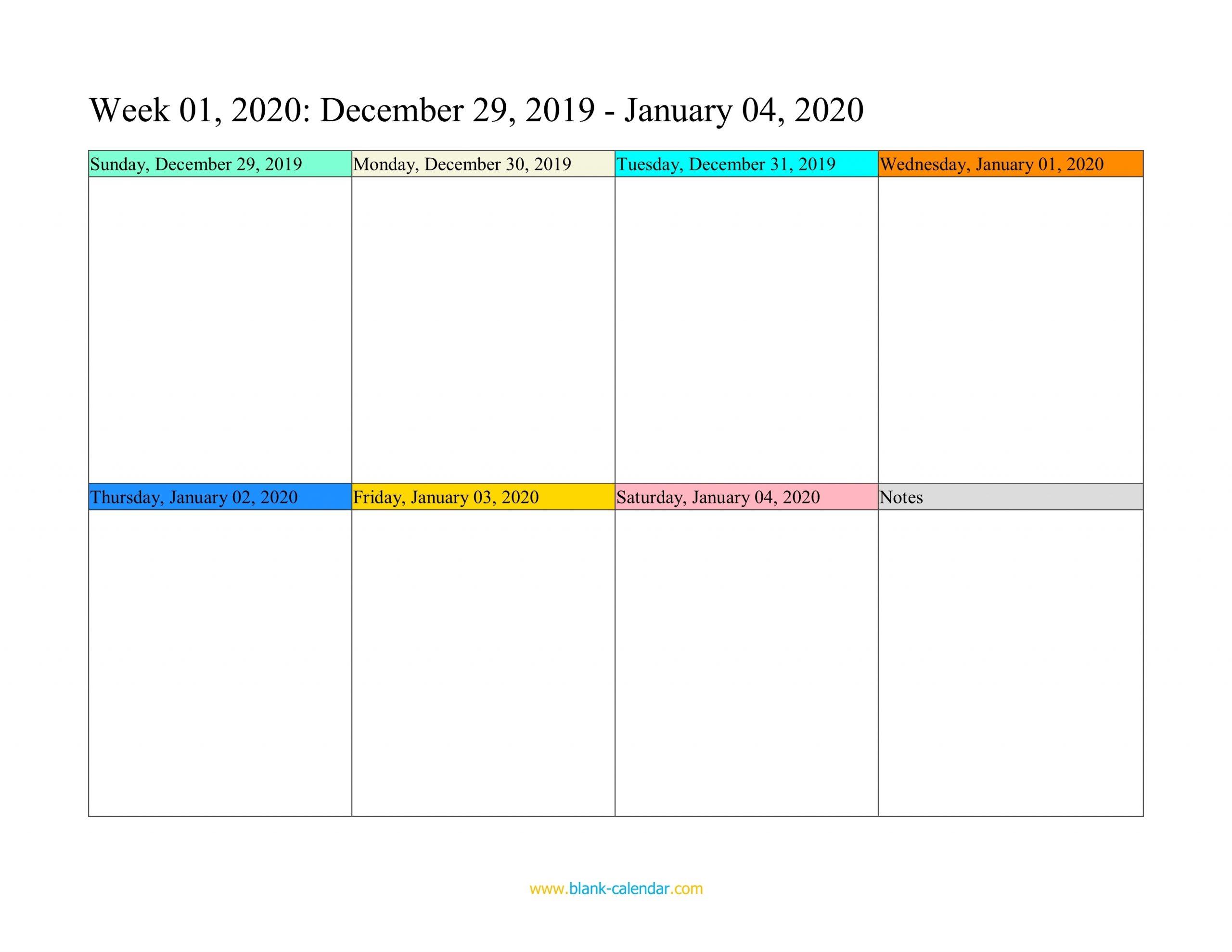 Weekly Calendar 2020 (Word, Excel, Pdf)