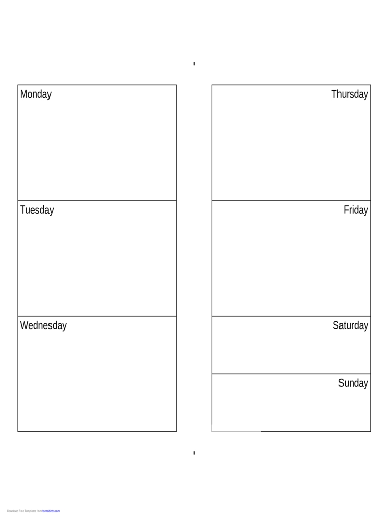 Weekly Calendar (Monday-Sunday) - Edit, Fill, Sign Online