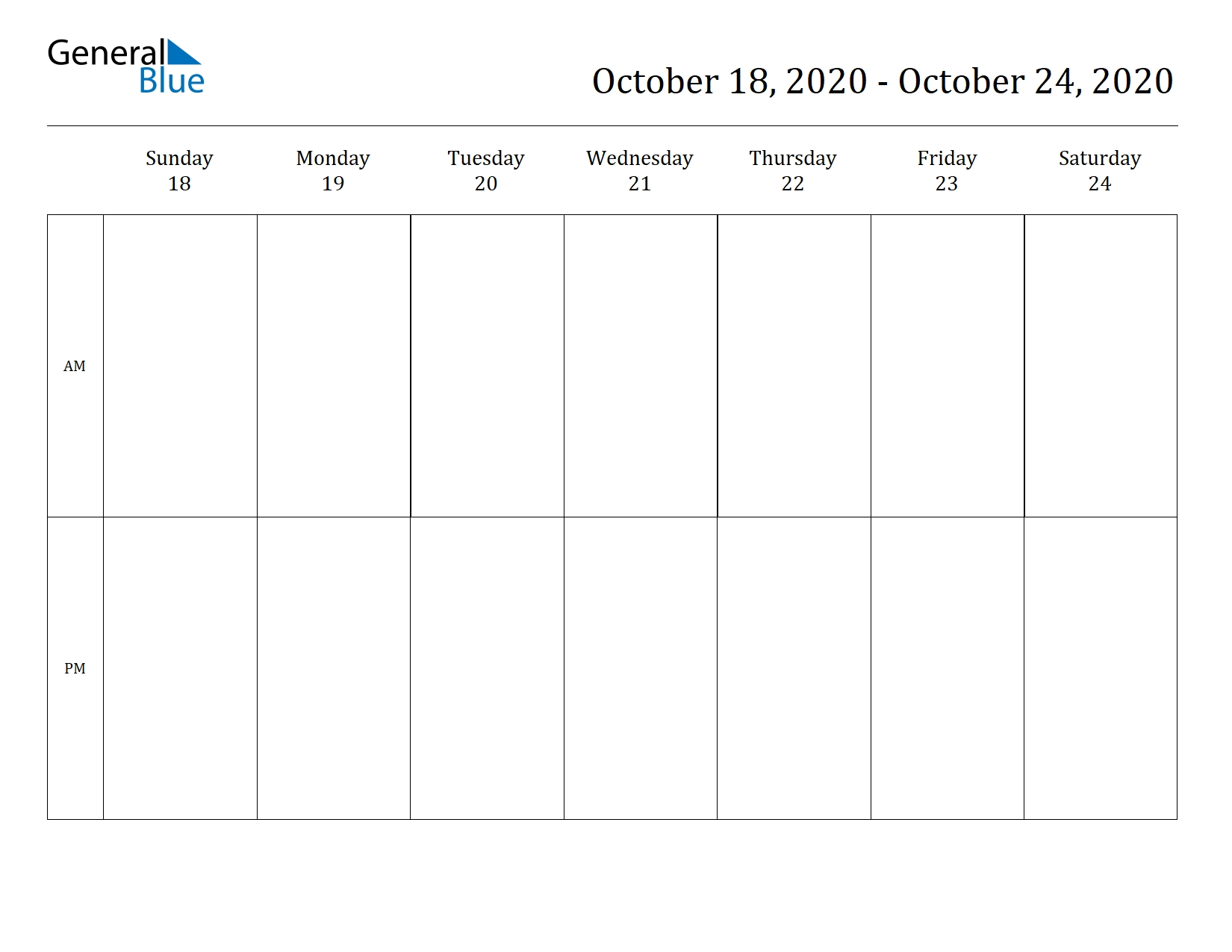 Weekly Calendar - October 18, 2020 To October 24, 2020
