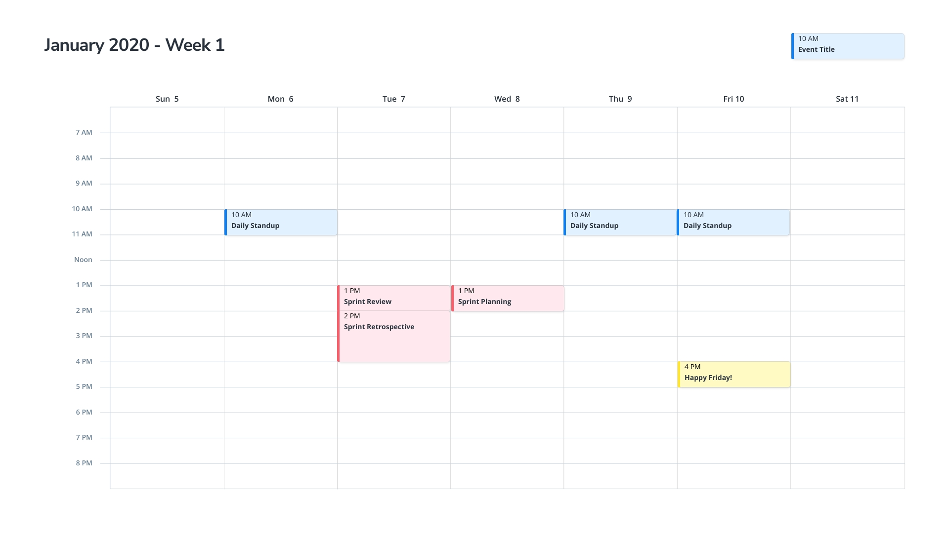 Weekly Calendar Template | Moqups