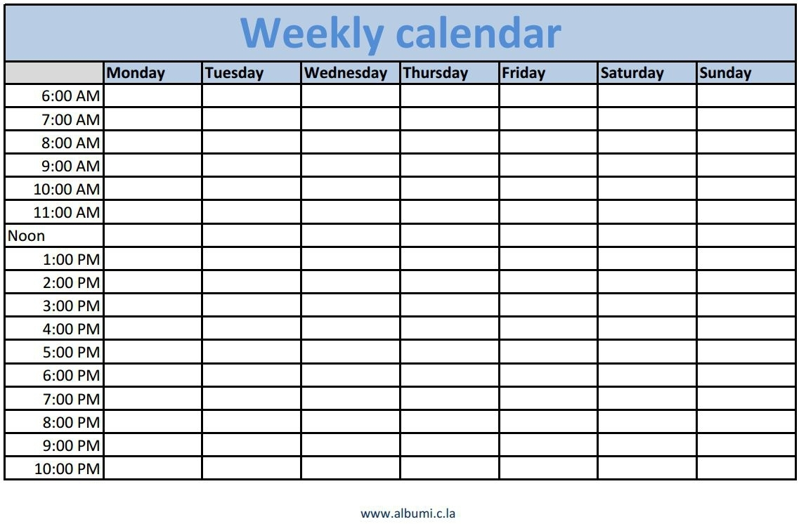 Weekly Calendar With Time Slots – Printable Year Calendar