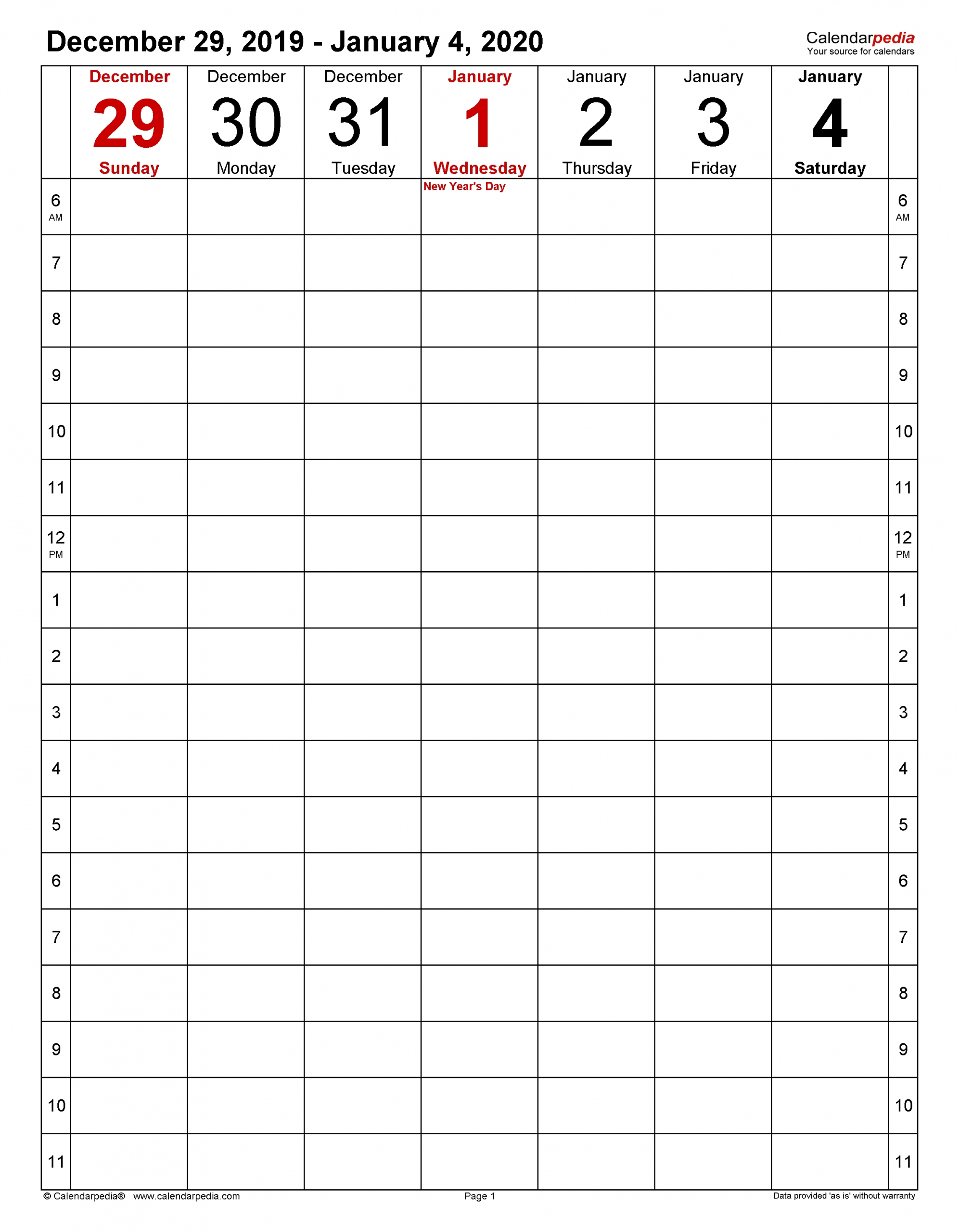 Weekly Calendars 2020 For Excel - 12 Free Printable Templates