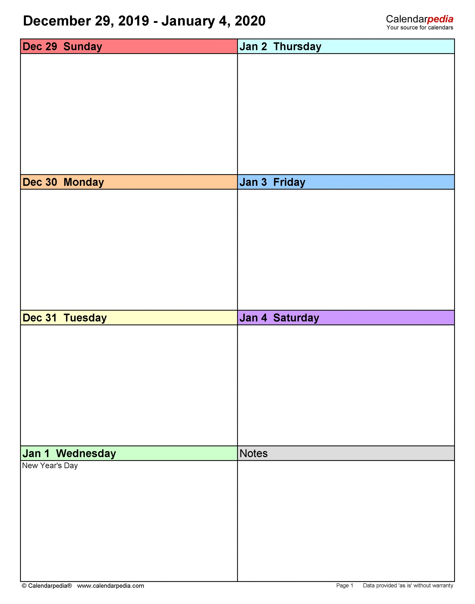 Weekly Calendars 2020 For Pdf - 12 Free Printable Templates for Year Calendar 2020 With Space To Write Int