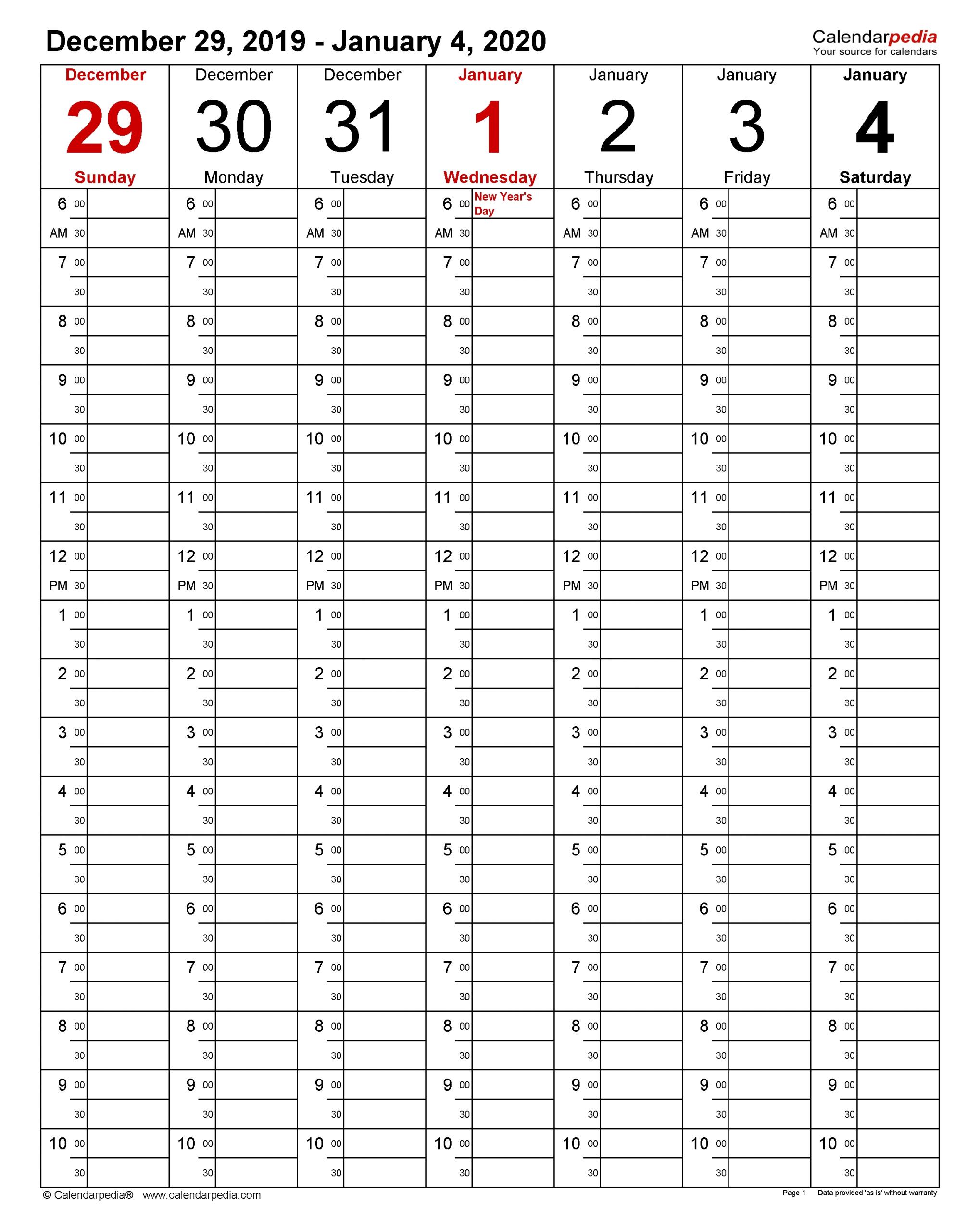 Weekly Calendars 2020 For Pdf - 12 Free Printable Templates inside Free Printable Calendars With Time Slots